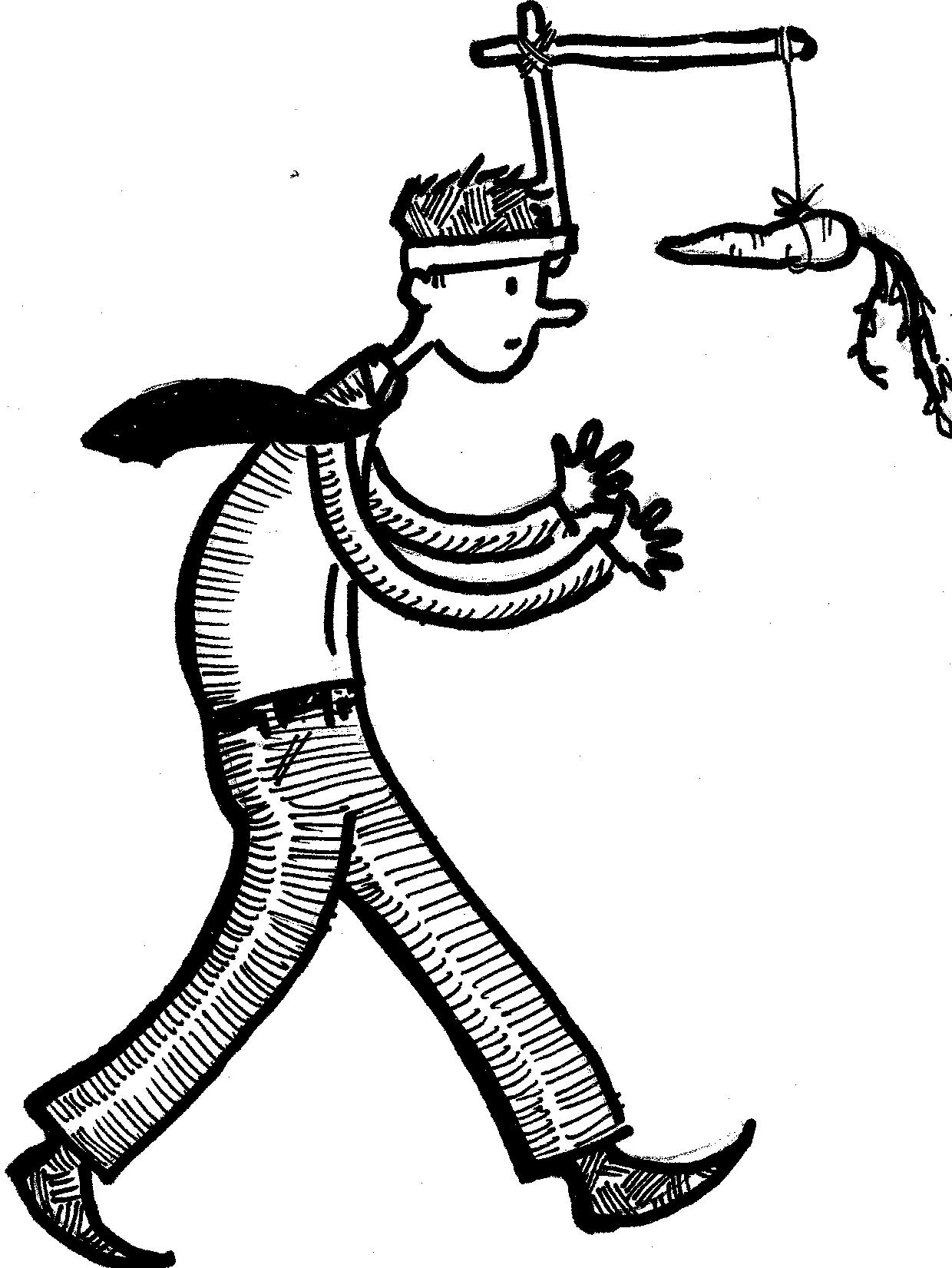boy walking with carrot dangling from a stick via a hat contraption